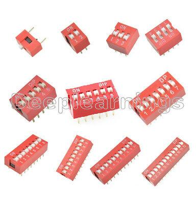 10pcs Red 2.54mm Pitch Switch Ways Slide Type Dip 1 2 3 4 5 6 7 8 9 10 12 Bit