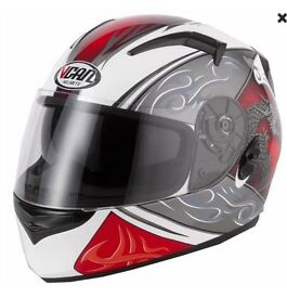 Vcan helmet red black and white dragon