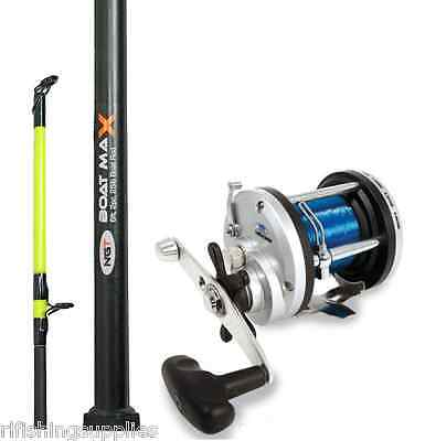 BRAND NEW 25LB 6FT 2 PIECE BOAT ROD AND JD500 MULTIPLIER REEL SEA FISHING