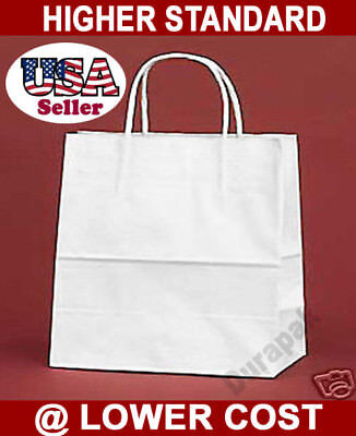 250 Pcs White Gem 5.25x3.25x8.375 Kraft Paper Retail Shopping Gift Bag Shopper