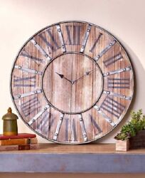 Farmhouse Clock Wall Modern Kitchen Rustic Mantel Industrial Style Decor Large