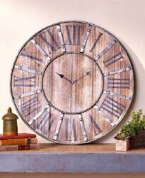 Farmhouse Clock Wall Modern Kitchen Rustic Mantel Industrial Style Decor Large