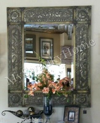 "Oversize 60"" ANTIQUE Embossed METAL Extra Large Wall Mirror"