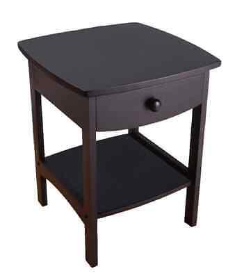 منضدة جانب السرير جديد New Black End Table Night Stand Wood Bedroom Furniture Nightstand Drawer Shelf