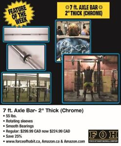 "7 ft. Axle (Fat) Bar- 55 lbs 2"" Thick- 25% off Autumn Sale"