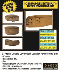Weightlifting Belt- 2- Prong Leather Belt- 50% off Spring Sale