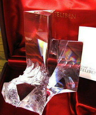 NEW in RED BOX STEUBEN glass PRISM CRYSTAL ornament paperweight rock quartz rose