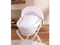 White Moses basket with stand & mattress