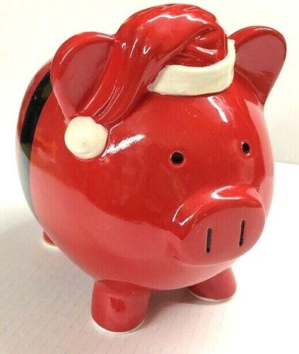 RED SANTA THEME PIGGY BANK CHRISTMAS MONEY COIN SAVE BILLS DECORATIVE PIG