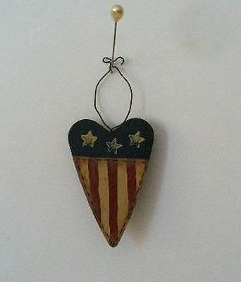 HP Americana Heart Pin Christmas Ornament Folk Art Patriotic Primitive - New