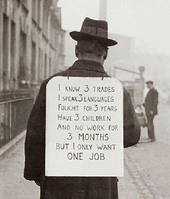 "Man Job Hunting with Sign during The Great Depression 8""x 10"" Photo 41"