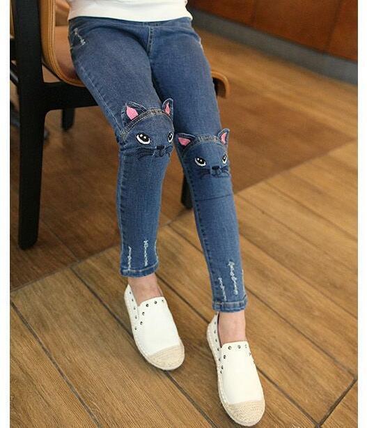 Toddler Stretch Jeans Trousers Cute Cat Print Kids Girls Baby Denim Skinny Pants