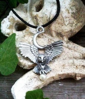 Greenwood Owl Goddess Pewter Pendant Wicca Celtic Pagan Amulet Talisman Occult