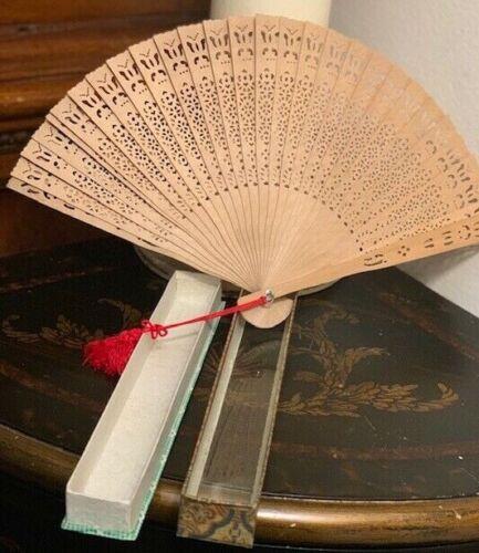 Vintage ( Antique?) Wooden Brise Fan With Original Glass Case