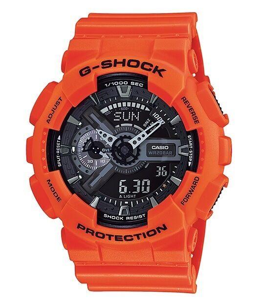Casio G Shock *GA110MR-4A Anti Magnetic Anadigi Watch X-Large Orange and Black