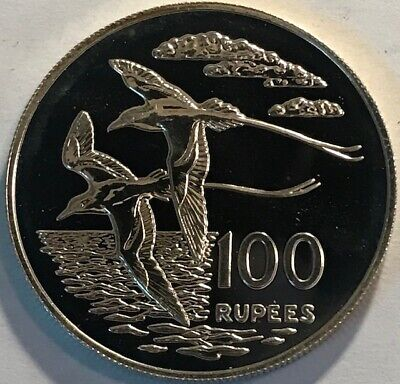 Tailed Tropic Bird - SEYCHELLES - 100 Rupees - 1978 - White-tailed Tropic Bird - Proof Silver Crown