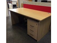 2 Barely Used Office Desks with 3 Draw Lockable Pedestal