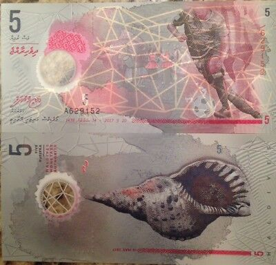 2017 P-A26 Soccer First Month of Issue Polymer PCGS 66 PPQ Maldives 5 Rufiyaa