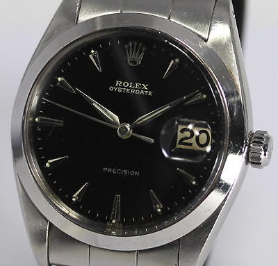 Auth ROLEX Ref.6694 Cal.1210 OYSTERDATE Black Glossy Gilt dial Men