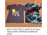BOYS SUMMER TOPS T-shirts age 9-10 Years