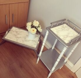 Metallic silver and marble side table and tray