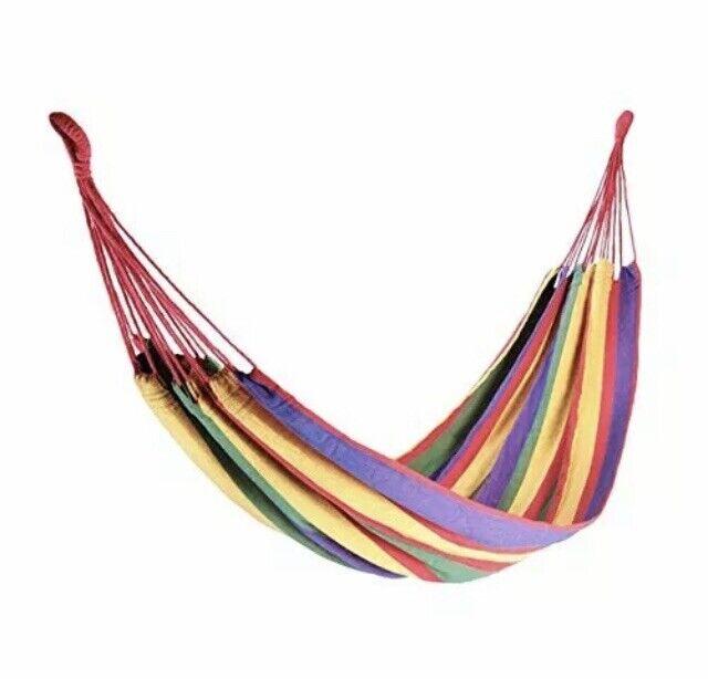 Milestone+Camping+13960+Rainbow+Outdoor+Garden+Hammock+Multi-Coloured+Double+UK