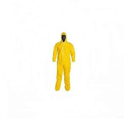 Kostaguard Protective Yellow Chemical Hazmat Coverall Suit W Hood Boot Covers