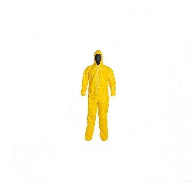 Protective Yellow Chemical Hazmat Coverall Suit W/ Hood  2xl