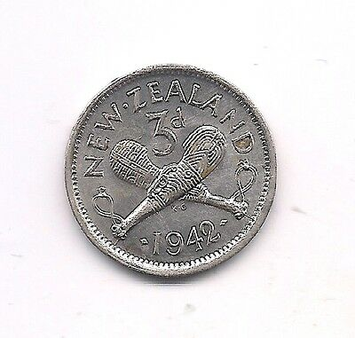 1942 New Zealand Silver Three Pence--Fabulous Details !!