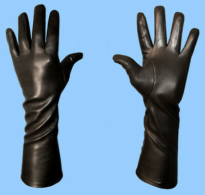 NEW MENS size 8.5 or Medium EXTRA LONG BLACK SILK LINED LAMBSKIN LEATHER GLOVES