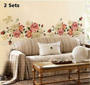 Peony Queen 2 Sets Wall Decals Removable Stickers Decor DIY Art Living Bed Ro