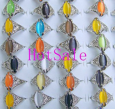 wholesale jewelry 5pcs vintage Cat eye nature stone gemstone rings Cool Design on Rummage