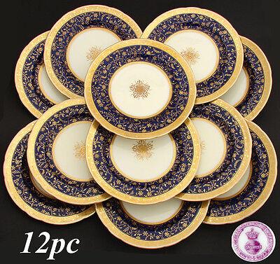 RARE 12pc Antique 1892 MINTON Dinner Plate Set, Raised 18k Gold Enamel on Cobalt