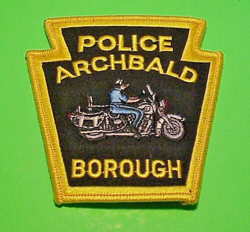 """ARCHBALD BOROUGH  PENNSYLVANIA  PA  MOTORCYCLE   4""""  POLICE PATCH  FREE SHIPPING"""
