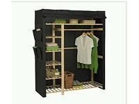 Wood and fabric wardrobe