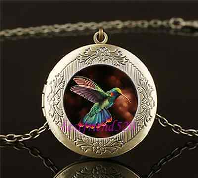 Vintage Pretty Hummingbird Cabochon Glass Brass Locket Pendant Necklace