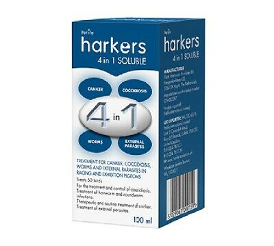 Harkers 4 in 1 soluble  Treatment Canker Coccidiosis Worms Parasites 100ml