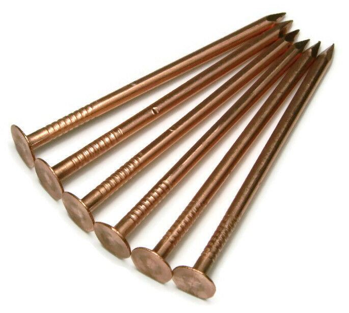 "2-1/2"" Smooth Shank Solid Copper Roofing Nails 10 Gauge USA Made - QTY 25"