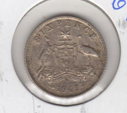 Australia George VI Silver 1942-D 6 Pence Sixpence