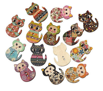 Lot Of 10 Sitting Cat 2 Hole Wooden Buttons 1 1 8  X 7 8   30Mm  Crafts  5701