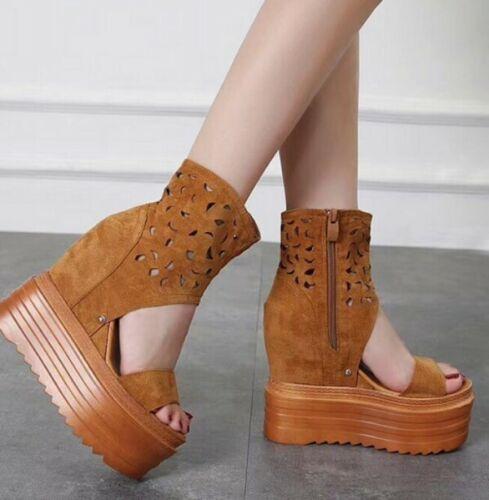 Women Boots Suede Rhinestone Shoes Wedge High Hidden Heels Pointed Toe Side Zip