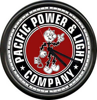 Reddy Kilowatt Pacific Powr Co. Electrician Utility Lineman Sign Wall Clock
