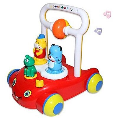 Musical Baby Toddler Walker With 3 Animal Characters Push Along Walking Trainer.