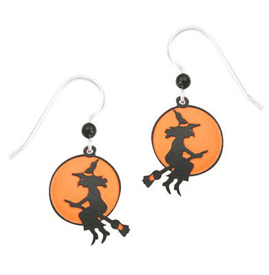 Sienna Sky Halloween Witch on the Harvest Moon Pierced Earrings ~Made in USA~ (Halloween Sky)