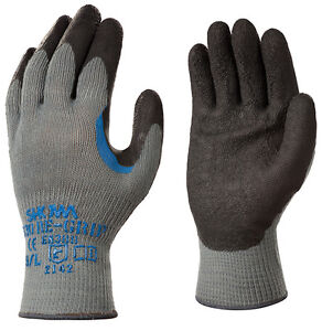 10-x-Pairs-Of-Showa-330-Re-Grip-Latex-Palm-Work-Gloves-Safety-Black-Rubber-Grip