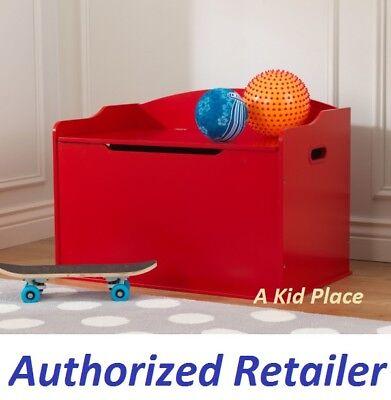 KIDKRAFT AUSTIN WOODEN TOY BOX 14961 GAMES STORAGE BENCH SEAT CHEST KIDS RED NEW (Toy Box Games)