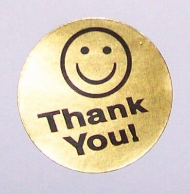 500 Thank You Label Sticker Gold