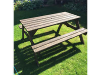 Wooden garden picnic bench seat table chair set patio furniture party diy large sturdy