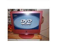 Neon pink tv DVD and docking station
