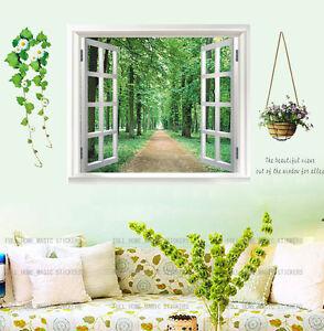 Huge Window 3D Green View Flowers Plant Wall Stickers Art Mural Decal Wallpaper